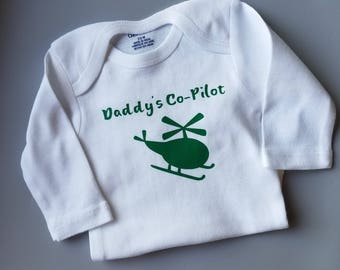 Daddy's Co-Pilot, Pilot Baby Clothes, Aviator, Air Force, Helicopter Baby Clothes, Helicopter Pilot Baby, Gender Neutral Baby Clothes, Pilot