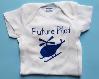 Future Pilot, Pilot Baby Clothes, Aviator, Air Force, Helicopter Baby Clothes, Helicopter Pilot Baby,Gender Neutral Baby Clothes, Helicopter