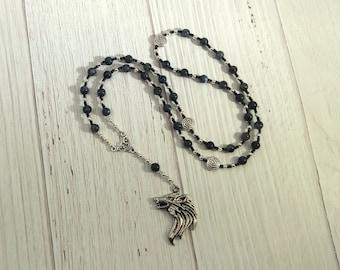 Odin Prayer Bead Necklace in Labradorite: Norse God of Battle, Magic, Runes, Wisdom