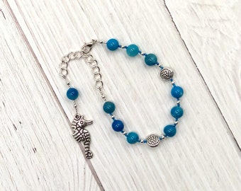 Manannan mac Lir Prayer Bead Bracelet in Blue Agate: Irish Celtic God of the Sea