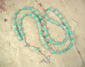 Artemis Prayer Bead Necklace in Amazonite: Greek Goddess of the Wilderness, Wild Animals, Huntress, Protector of Young Women and Girls