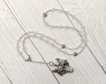 Skadhi Prayer Bead Necklace in Snow Quartz: Norse Goddess of Winter and the Wilderness