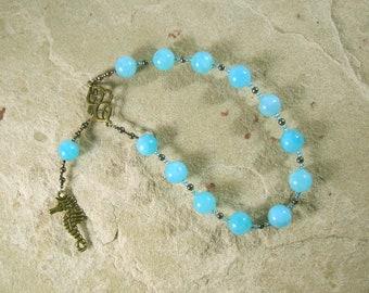 Poseidon Pocket Prayer Beads in Aquamarine: Greek God of the Sea, Protector and Patron of Sailors