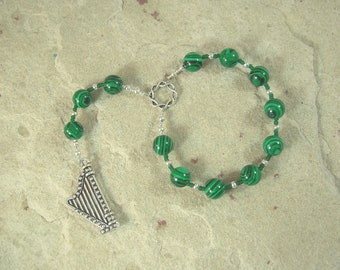 Bragi Pocket Prayer Beads in Reconstituted Malachite: Norse God of Poetry and Inspiration