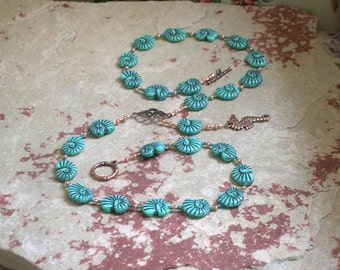 Poseidon Prayer Bead Necklace in Pressed Glass: Greek God of the Sea, Protector and Patron of Sailors