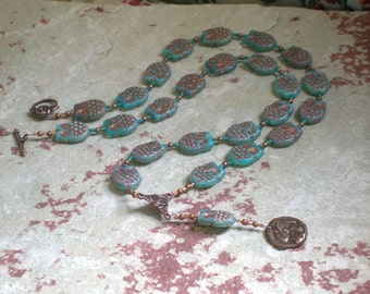 Athena Prayer Bead Necklace in Czech Pressed Glass:  Greek Goddess of Wisdom, Weaving, Crafts, War, Patron of Artisans, Protector of Cities