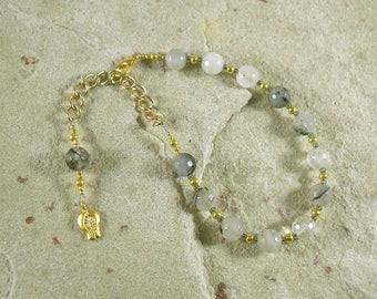 Persephone Prayer Bead Bracelet in Rutilated Quartz: Greek Goddess of Spring,  Renewal, Death and the Afterlife, Queen of the Underworld