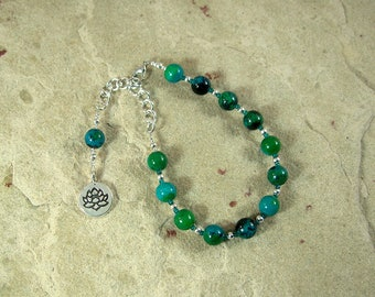 Hera Prayer Bead Bracelet in Chrysocolla: Greek Goddess of the Sky and Heavens, Marriage and Fidelity, and Queen of Olympus