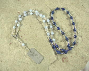 Thoth (Djehuty) Prayer Bead Necklace in Blue Lace Agate and Lapis Lazuli: Egyptian God of Wisdom and Learning, Language and Communication