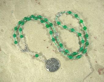 Danu Prayer Bead Necklace in Green Agate: Irish Celtic Mother Goddess