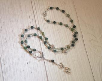 Cernunnos (Kernunnos) Prayer Bead Necklace in Moss Agate: Gaulish Celtic God of Nature and Wild Beasts