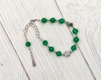 Danu Prayer Bead Bracelet in Green Agate:  Irish Celtic Mother Goddess