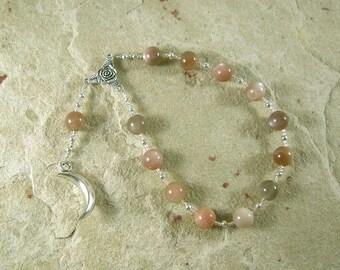 Selene Pocket Prayer Beads in Moonstone: Greek Goddess of the Moon