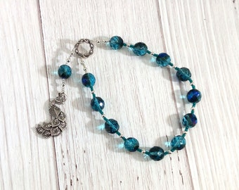 Hera Pocket Prayer Beads with Peacock: Greek Goddess of the Sky and Heavens, Marriage and Fidelity, and Queen of Olympus