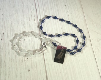Ma'at Prayer Bead Necklace in Snow Quartz and Lapis: Egyptian God of Truth, Justice, Order