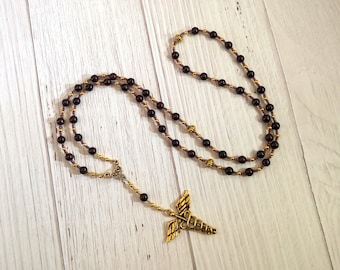 Prayer Bead Necklace in Garnet with Caduceus for the Greek God of Communication, Commerce, Competition, Diplomacy, Travel