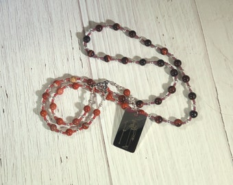 Wadjet Prayer Bead Necklace in Red Jasper and Red Tiger Eye: Egyptian Cobra Goddess, Patron and Protector of Lower Egypt