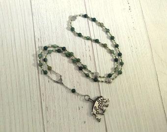 Frey Prayer Bead Necklace in Moss Agate: Norse God of Fertility, Abundance, Prosperity