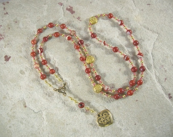 Medb (Maeve) Prayer Bead Necklace in Red Jasper: Irish Celtic Goddess of Sovereignty, Sexuality and Intoxication