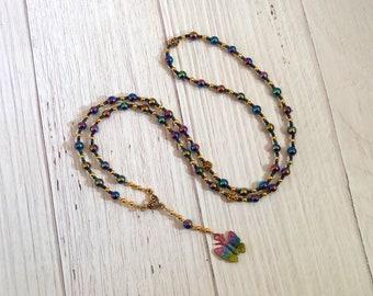 Psyche Prayer Bead Necklace in Rainbow Hemalyke: Greek Goddess of the Soul, Bride of Eros