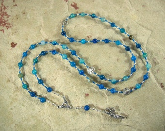Dike (Justice) Prayer Bead Necklace in Blue Agate: Greek Goddess of Justice