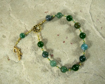 Sobek Pocket Prayer Beads in Moss Agate: Egyptian God of Fertility, Protection and the Military, Patron of Soldiers