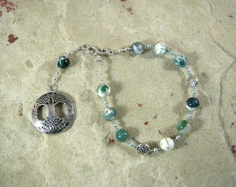 Nemetona Pocket Prayer Beads in Tree Agate: Gaulish Celtic Goddess of the Sacred Grove