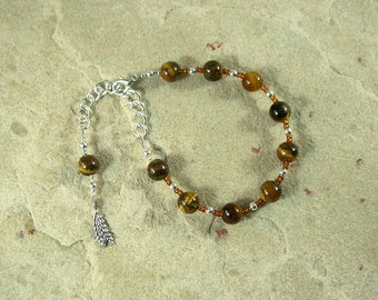 Sif Prayer Bead Bracelet in Tiger Eye: Norse Goddess of Abundance and Fertility, Bride of Thor