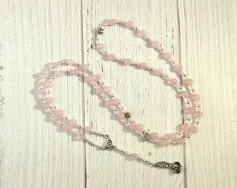 Aphrodite Prayer Bead Necklace in Rose Quartz: Greek Goddess of Love and Beauty
