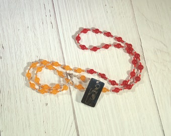 Ra (Re) Prayer Bead Necklace in Red and Orange Jade: Egyptian God of the Sun