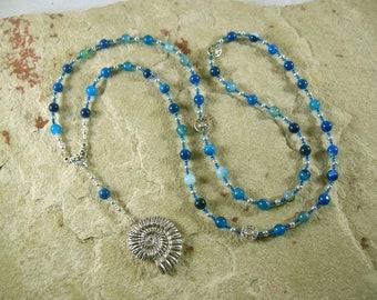 Poseidon Prayer Bead Necklace in Blue Agate: Greek God of the Sea