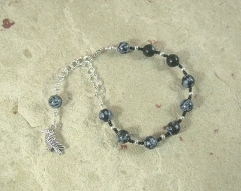 Odin Prayer Bead Bracelet in Snowflake Obsidian: Norse God of War and Battle, Magic, Runes, Wisdom, Poetry and Death