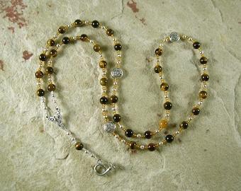 Heimdall Prayer Bead Necklace in Tiger Eye: Norse God, Guardian of Bifrost, the Rainbow Bridge