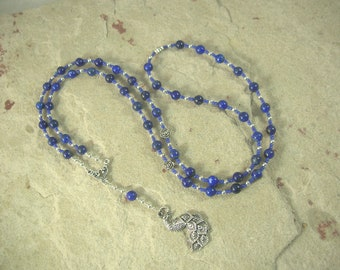 Hera Prayer Bead Necklace in Lapis Lazuli: Greek Goddess of the Sky and Heavens, Marriage and Fidelity, Queen of Olympus