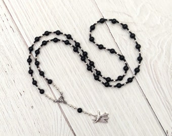 Anubis Prayer Bead Necklace in Black Onyx: Egyptian God of the Underworld and the Afterlife, Guardian of the Dead