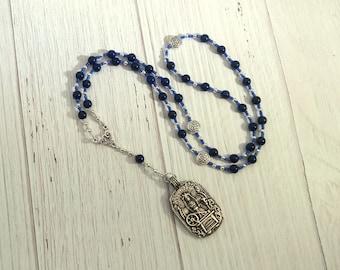 Frigga Prayer Bead Necklace in Lapis Lazuli: Queen of Asgard, Norse Goddess of Wisdom, Weaving, FIbercraft, Management