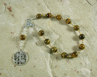 Demeter Pocket Prayer Beads in Tiger Eye: Greek Goddess of Grain, the Harvest, the Seasons, and the Afterlife.