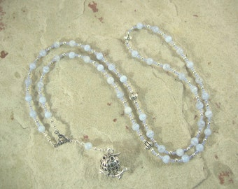 Athena Prayer Bead Necklace in Blue Lace Agate: Greek Goddess of Wisdom, Weaving and Crafts, Strategy and War