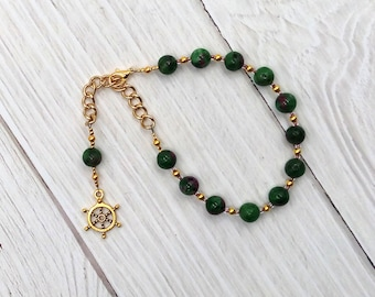 Tyche (Fortuna) Prayer Bead Bracelet in Ruby-Zoisite: Greek Goddess of Luck, Chance and Prosperity, Mistress of the Wheel of Fortune