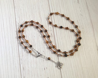 Apollo Prayer Bead Necklace in Tiger Eye: Greek God of Music and the Arts, Health and Healing, Archery and the Sun