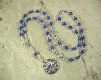Epona Prayer Bead Necklace in Lapis Lazuli: Gaulish Celtic Goddess of the Horse, Goddess of Soldiers