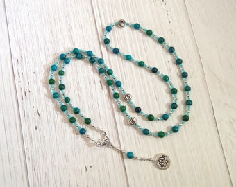 Hera Prayer Bead Necklace in Chrysocolla: Greek Goddess of the Sky and Heavens, Marriage and Fidelity, Queen of Olympus