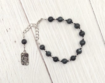 Nyx Prayer Bead Bracelet in Labradorite (Black Moonstone): Greek Goddess of the Night