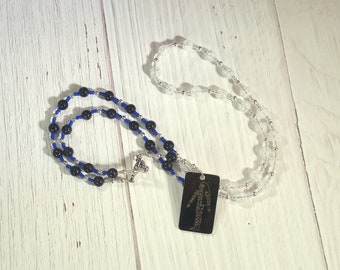 Nut (Nuit) Prayer Bead Necklace in Cracked Quartz and Blue Goldstone: Egyptian Goddess of the Sky and Stars