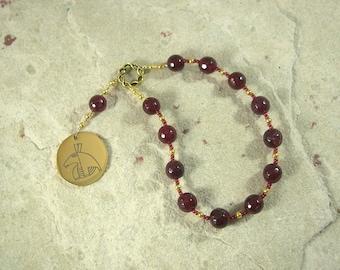 Set Pocket Prayer Beads in Garnet: Egyptian God of Change, Chaos, Battle