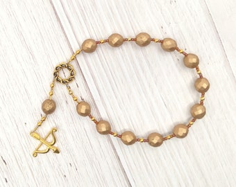 Apollo Pocket Prayer Beads with Bow and Arrow: Greek God of Music and the Arts, Health and Healing, Archery and the Sun