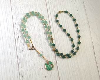 Gaia (Gaea) Prayer Bead Necklace in Aventurine and Green Agate: Mother Earth, Mother of the Gods, Mother of All That Is