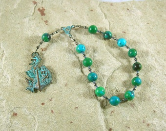 Amphitrite Pocket Prayer Beads in Chrysocolla: Queen of the Seas and Consort of Poseidon