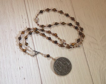 Cernunnos (Kernunnos) Prayer Bead Necklace in Tiger Eye: Gaulish Celtic God of Nature and Wild Beasts