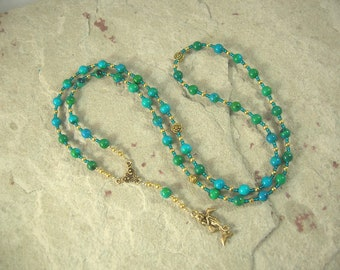 Amphitrite Prayer Bead Necklace in Chrysocolla: Queen of the Seas and Consort of Poseidon